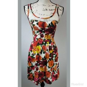 Kirra Floral Sleeveless Dress with Lace Neckline